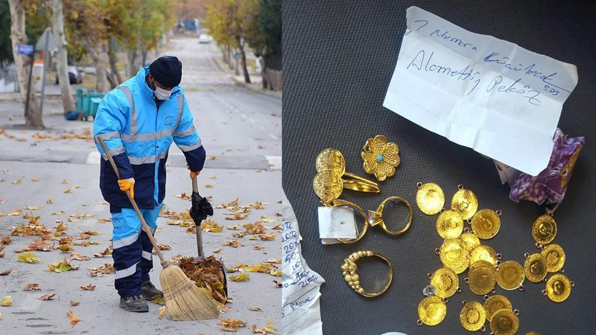 Yolda bulduğu altınları sahibine teslim etti