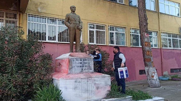 Atatürk heykeline çirkin saldırıda yeni gelişme