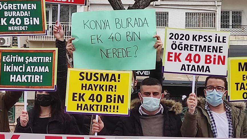 Atama bekleyen öğretmenler eylem yaptı