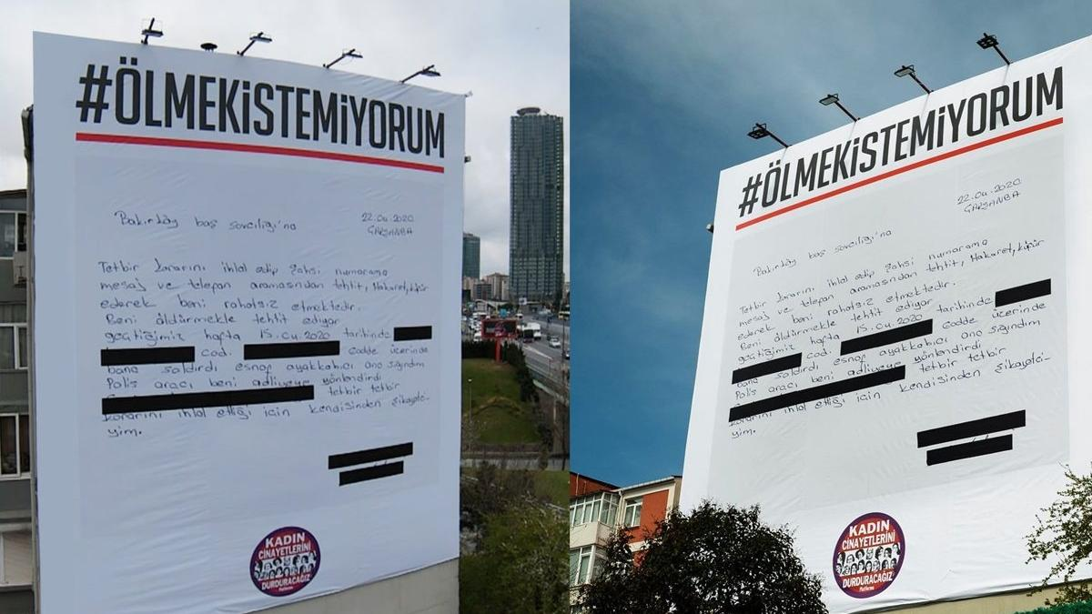 Zincirlikuyu'daki dev 'Ölmek İstemiyorum' afişi indirildi, kadınlara destek Beşiktaş Belediyesi'nden geldi