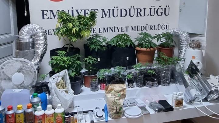 Bez dolapta uyuşturucu yetiştiren çift tutuklandı