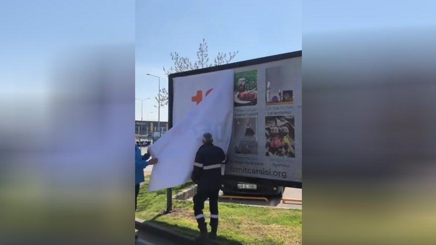 AKP'li Kocaeli Belediyesi, CHP'nin astığı '128 milyar dolar nerede?' afişlerini böyle söktü