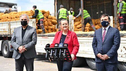 Şova dönüştürülen patates dağıtımına tepki