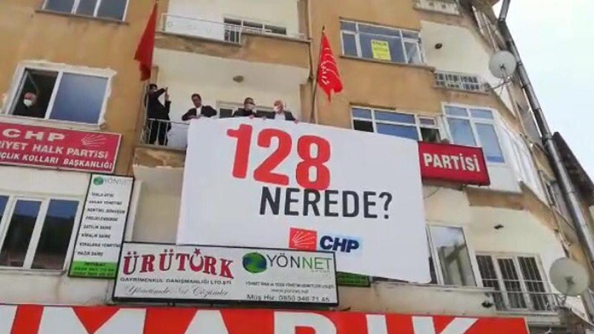 Bu kez '128 nerede?' pankartı asıldı!