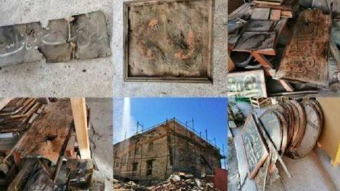 Cami tadilatında bulunan tarihi eserler çöpe atıldı