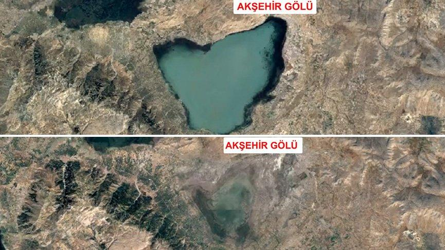 Gölleri vuran kuraklık uydu fotoğraflarıyla belgelendi