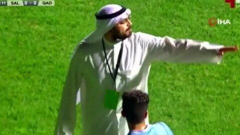 Kuveyt'te skandal! Başkan sahaya inip ışıkları kapattırdı...