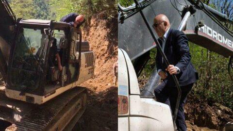 İşkencedere'de mücadele sürüyor: Tanal iş makinesinin üzerine çıktı
