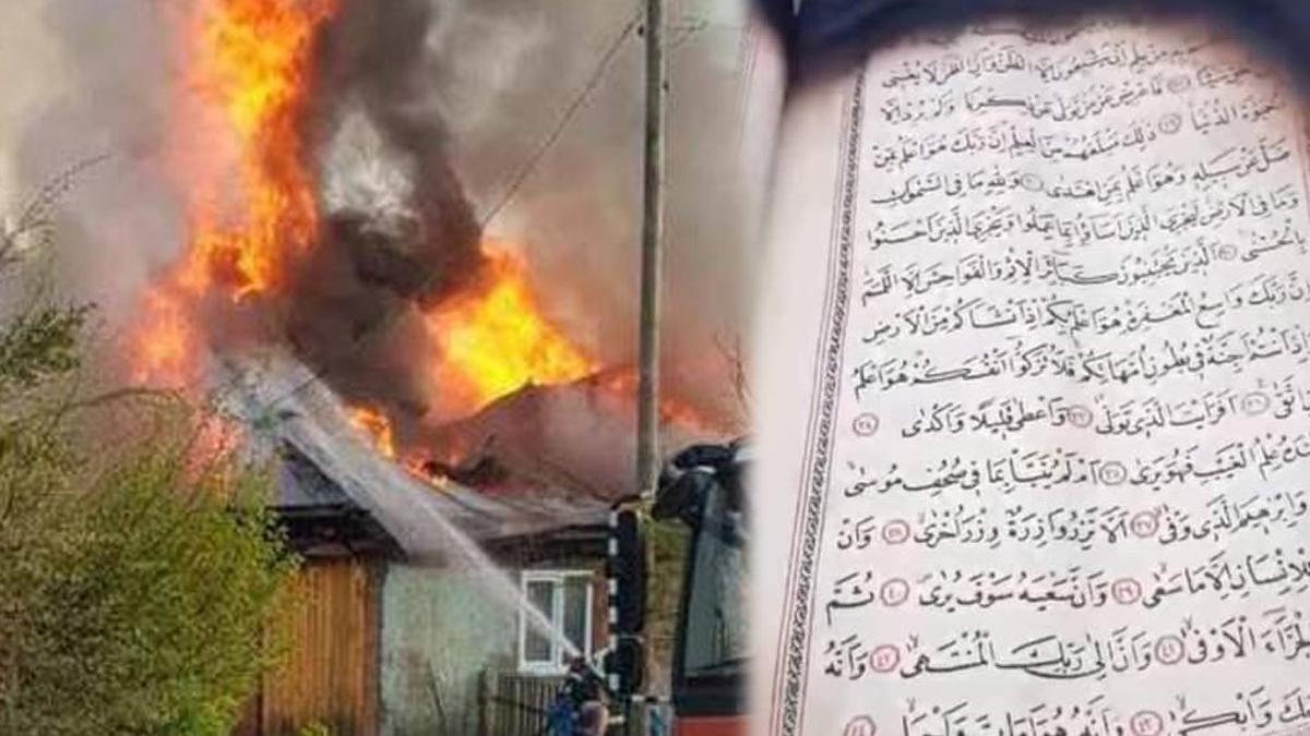 Yangında ev küle döndü, iki adet Kur'an-ı Kerim'e hiçbir şey olmadı