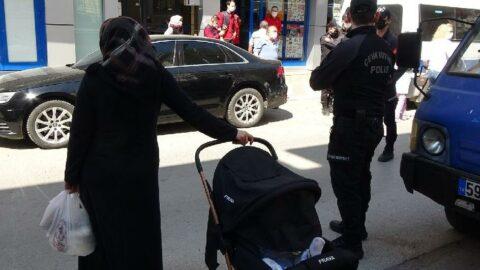 Markete çocuklarıyla gidenlere ceza