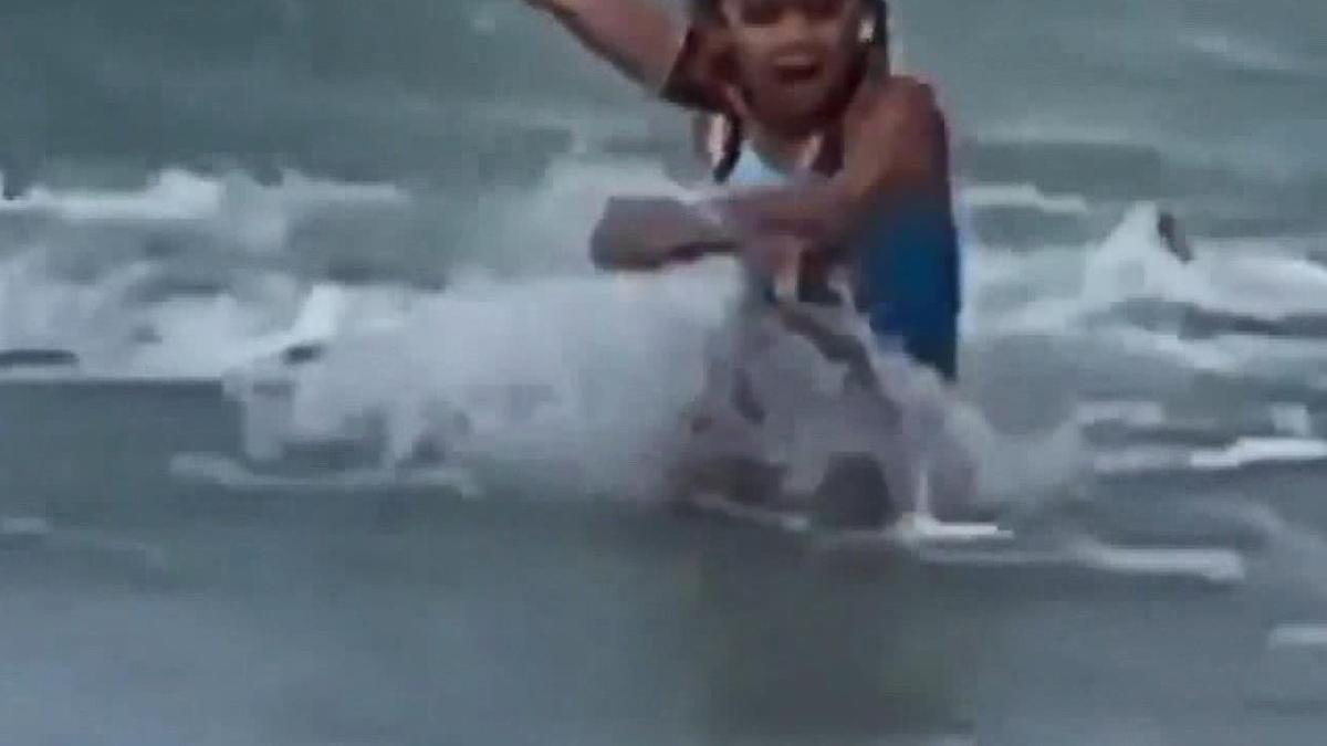 Denize giren çocuk köpek balığından böyle kaçtı