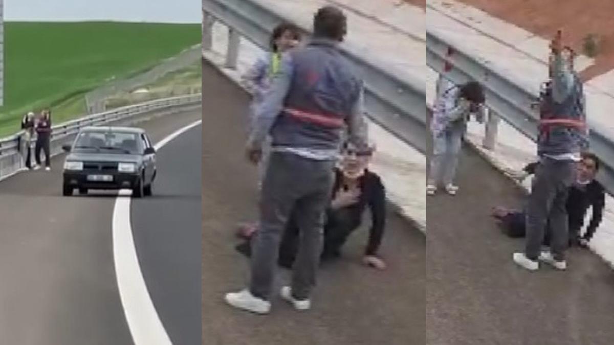 Otoyol kenarında kadına şiddet
