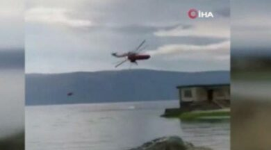 Helikopterin göle düşme anı saniye saniye kamerada