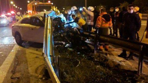 TEM'de korkunç kaza: Bariyerlere girdi, motoru yerinden fırladı