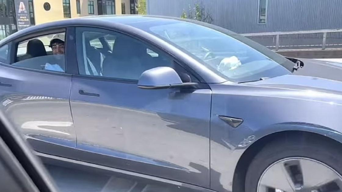 Sürücüsüz Tesla aracında arka koltukta oturduğu için gözaltına alındı