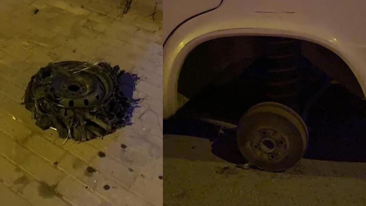 Park halindeki aracın lastiğini söküp kendi aracına taktı