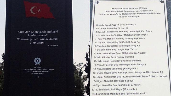 Atatürk ve 18 silah arkadaşının isimleri Şehitlik Anıtı'ndan çıkarıldı