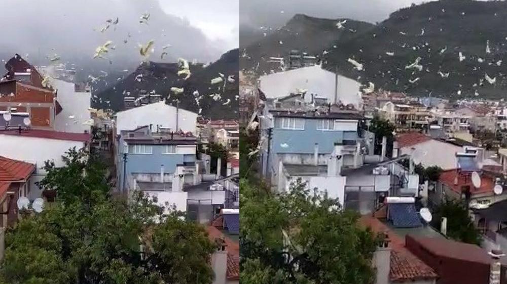 Fırtına nedeniyle bir evin çatısı uçtu
