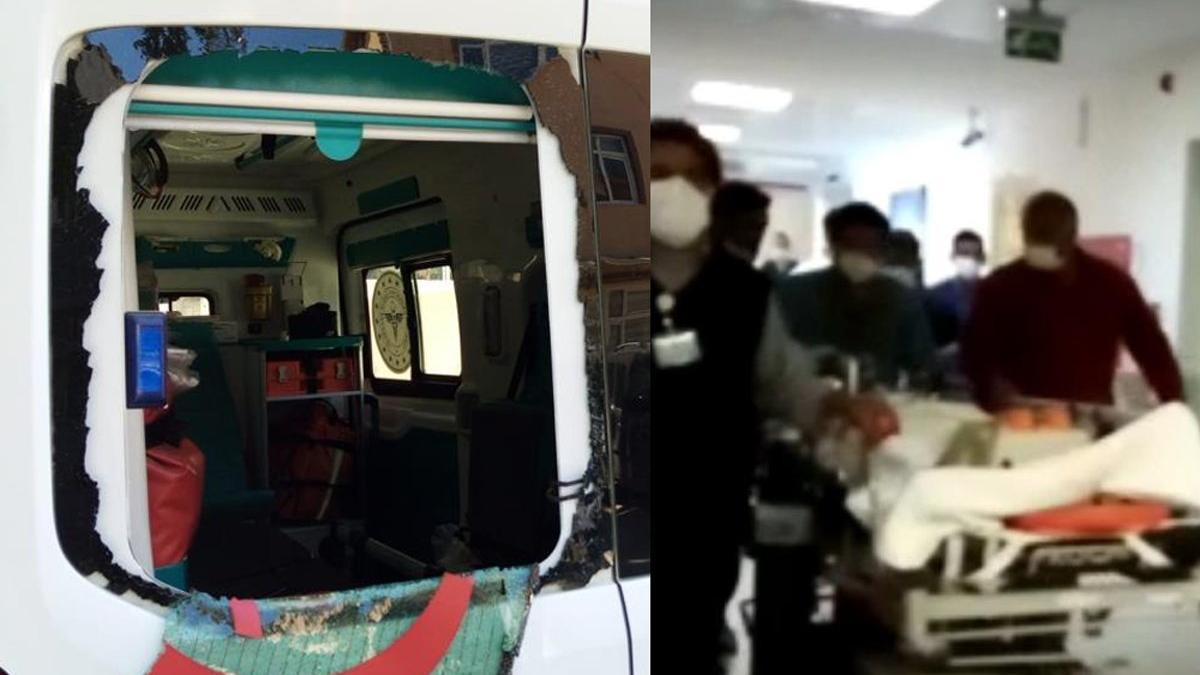 Yaralıya müdahale eden 112 ekibine taşlı saldırı