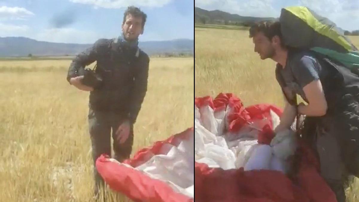 Kanadalı paraşütçü ekili tarlaya indi, çiftçinin sözleri gülmekten kırdı geçirdi