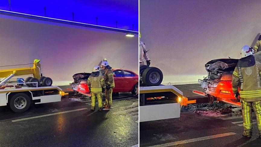 Araç yangını Avrasya Tüneli'ni trafiğe kapattı