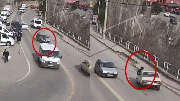 Talihsiz kaza: 2 saniye içinde iki farklı araç çarptı
