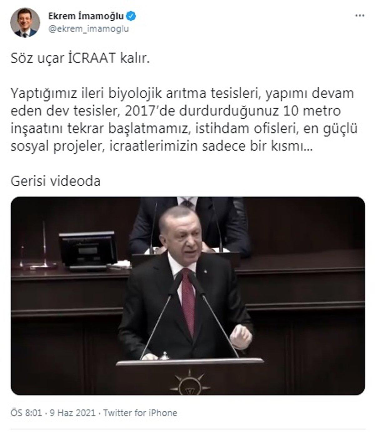 İmamoğlu'ndan Erdoğan'a videolu yanıt