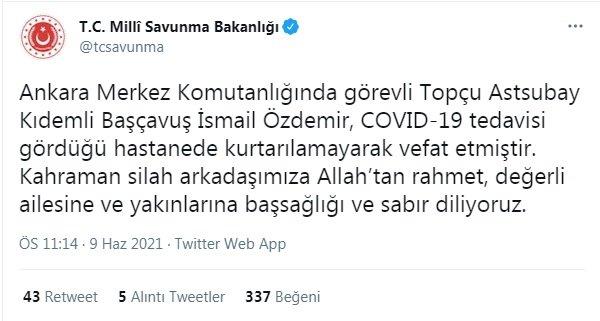 Ankara Merkez Komutanlığı'nda görevli asker coronadan hayatını kaybetti