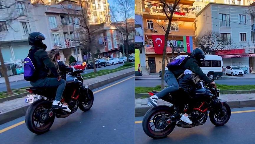 Pes dedirten görüntü: Kız arkadaşıyla motorda yer değiştirdi