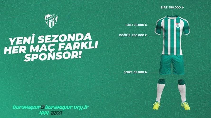 Bursaspor, her maç için farklı forma reklamları alacak