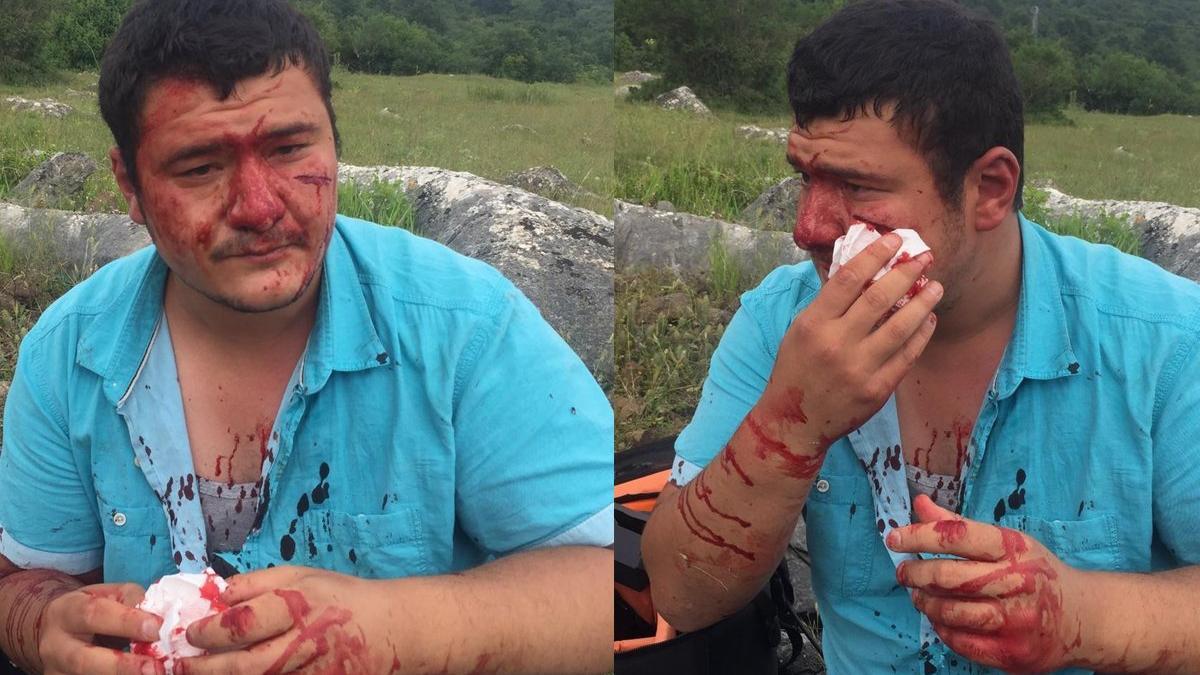 Lütfü Türkkan'ın çiftliğinin yıkımı sırasında görüntü alan İHA muhabirine saldırı