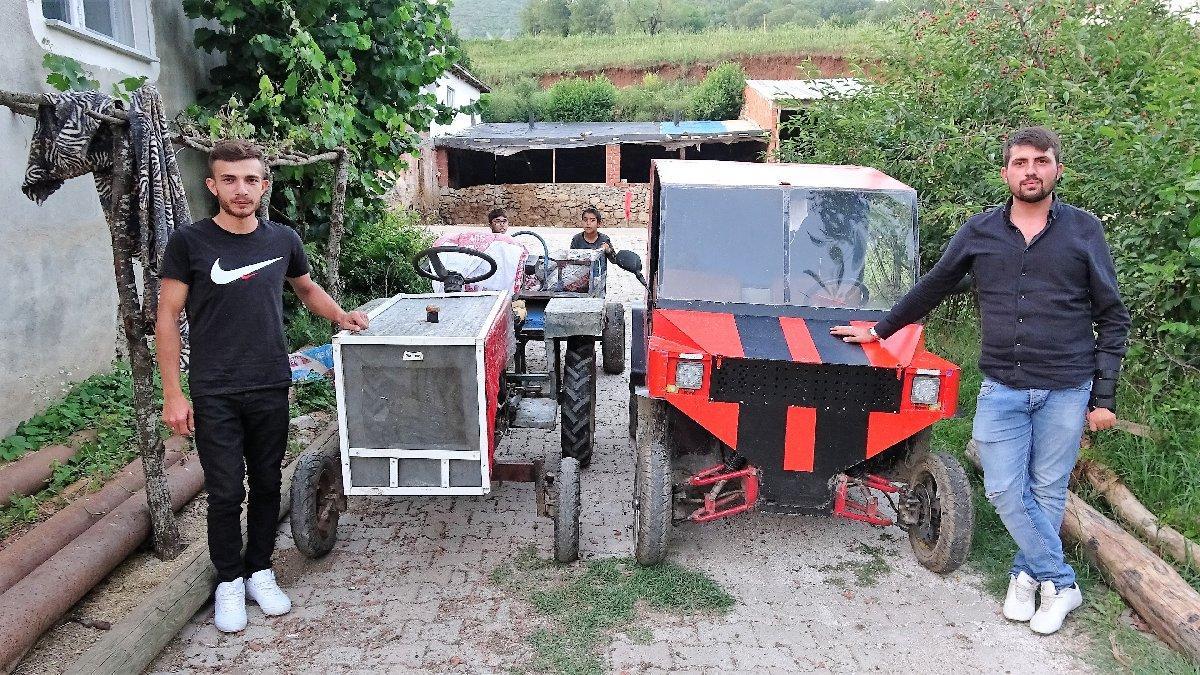 İki kafadar köyde hurdayla bir traktör bir otomobil yaptı