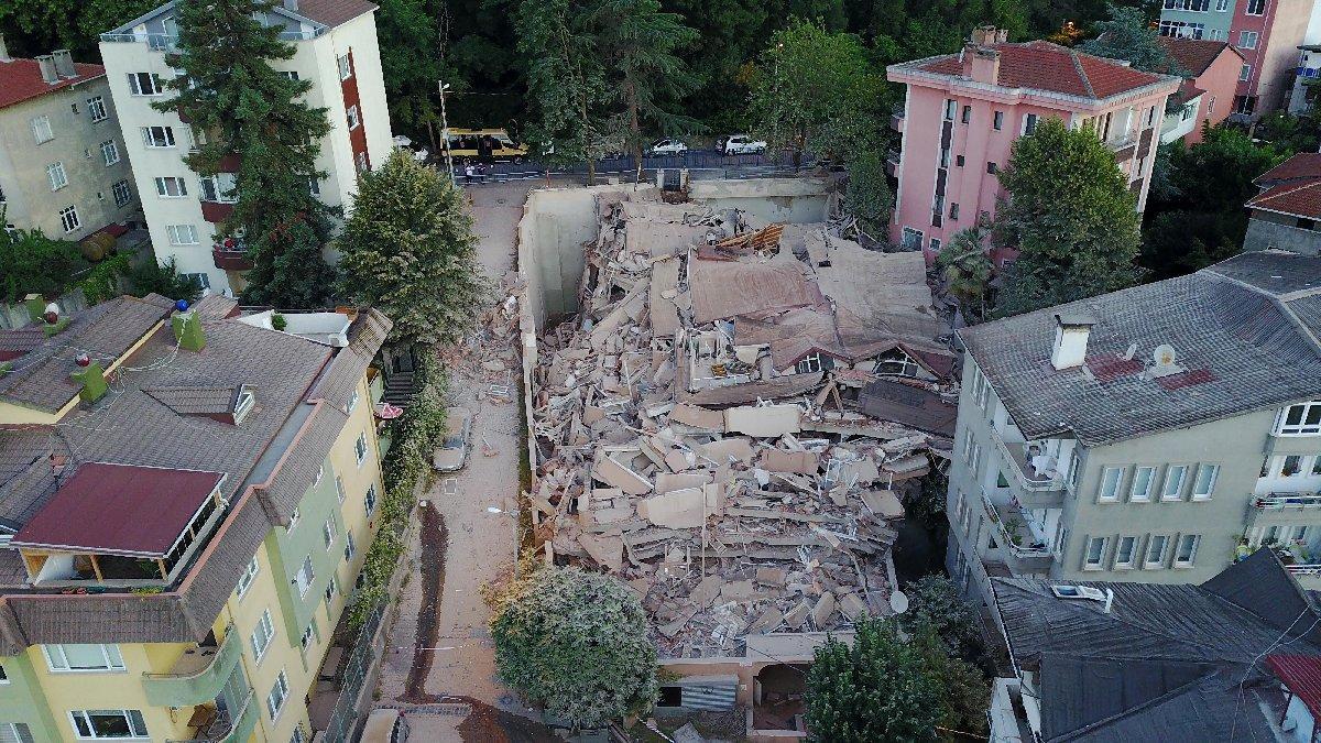 Sarıyer'de boşaltılan 9 katlı bina çöktü