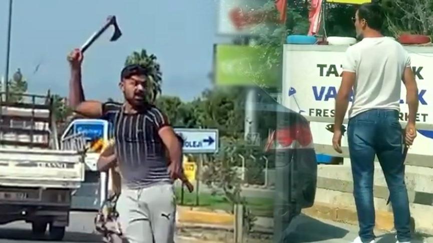 Trafikte baltalı-döner bıçaklı tartışma