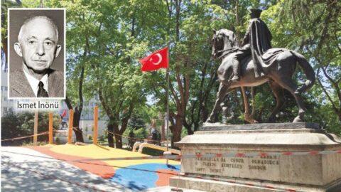 İnönü'nün anıtının önüne kaykay pisti