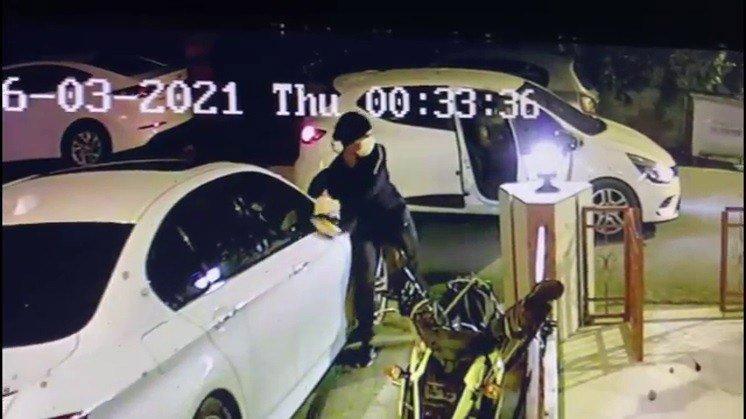 Lüks otomobillerin ayna ve plakalarını çalan hırsız yakalandı