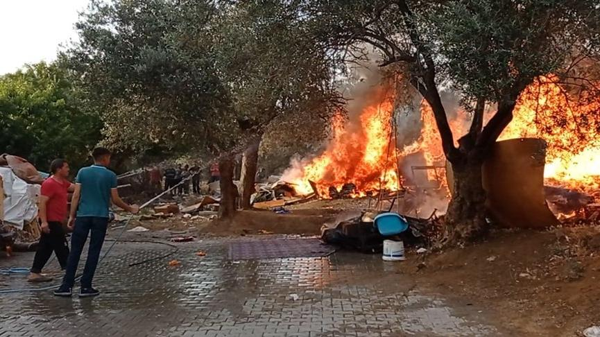 Husumetli olduğu eniştesinin bahçesini ateşe verdi