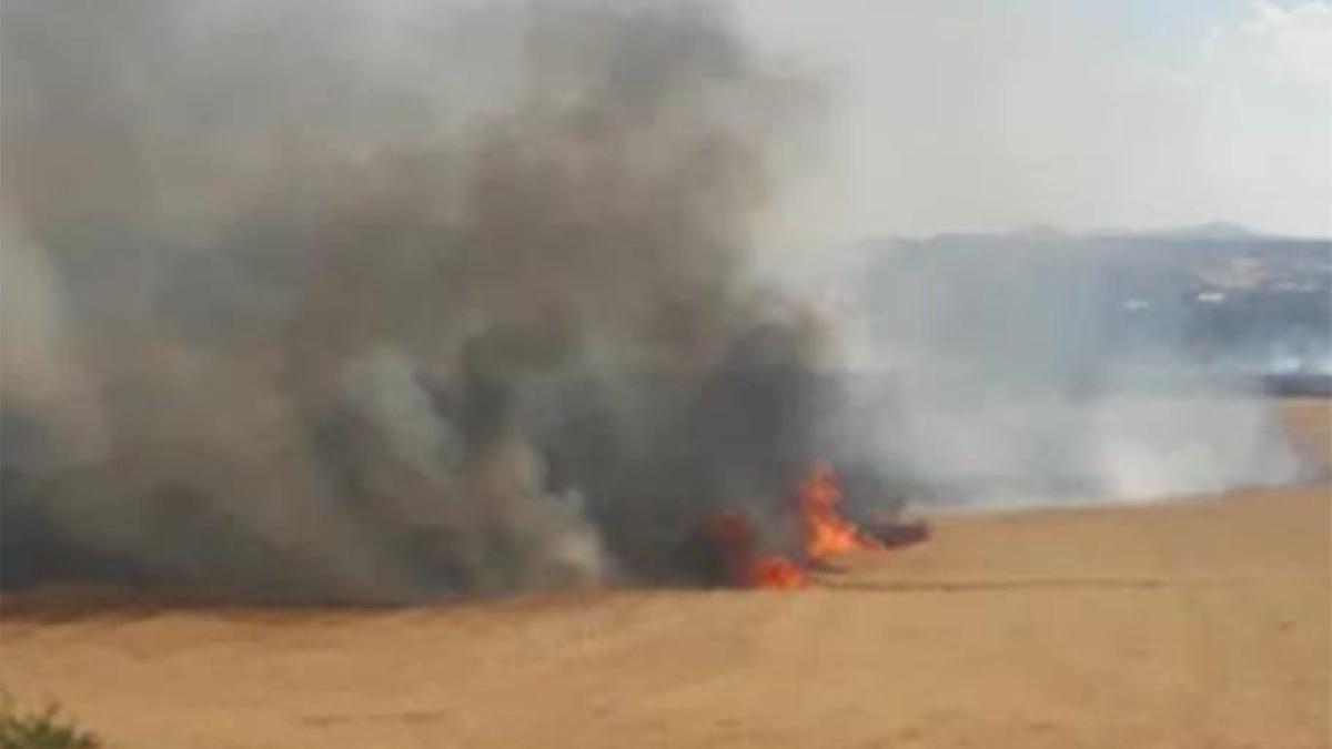 Buğday tarlasında yangın! 5 dönüm alan zarar gördü