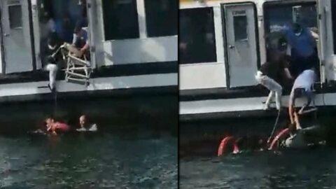 Vapurdan denize düşen kadını vatandaşlar kurtardı