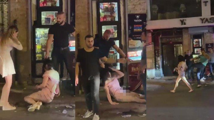 İstanbul'da akılalmaz görüntüler... Saçından sürükleyip, tekme tokat dövdüler...