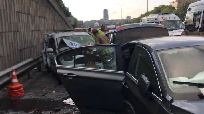 TEM'de polis otosu kaza yaptı
