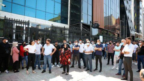 SAS Holding önünde eylem: 'Tosuncuk' gibi kaçmadan yakalayın