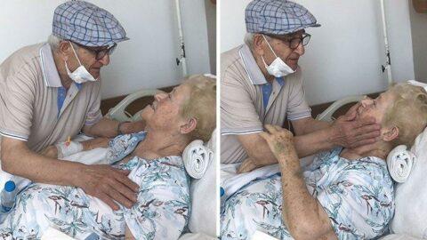 58 yıldır ilk kez ayrı kalan çiftin buluşma anı duygulandırdı