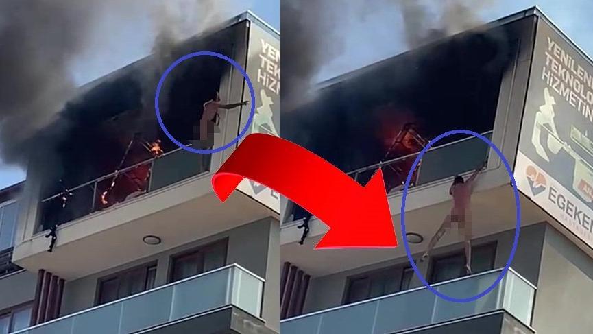 Yangında mahsur kalan adam, komşusunun balkonuna atladı