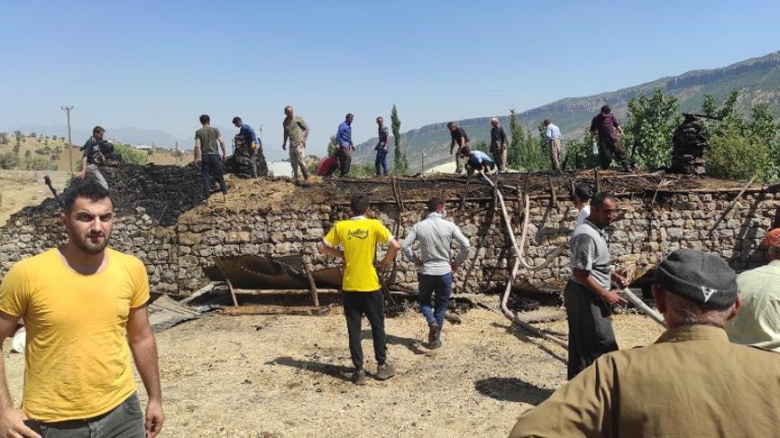 Derecik'te ahır yandı: 7 büyükbaş hayvan öldü