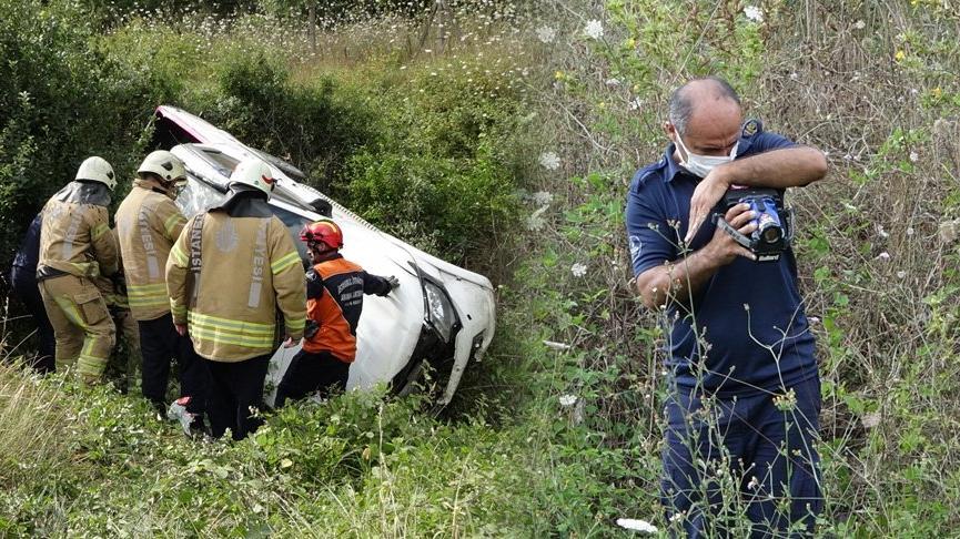 Şile yolunda trafik kazası: İtfaiye termal kamera ile yaralı aradı
