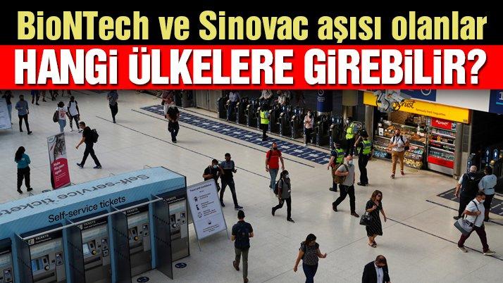 Sinovac veya BioNTech olan Türk vatandaşları hangi ülkelere sorunsuz gidebilir