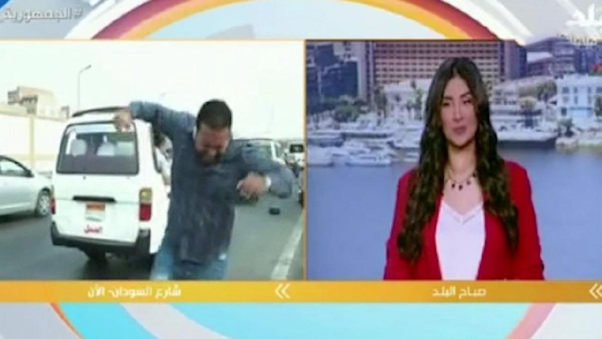 Canlı yayında muhabire motosiklet çarptı