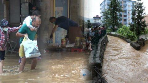 Artvin'de yağış etkili oluyor! İlçe yine sele teslim