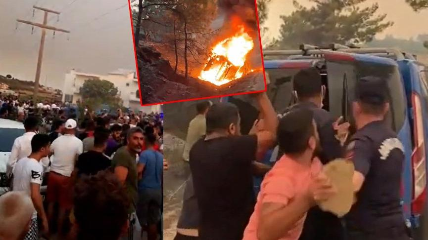 İki kişiyi linç etmeye kalktılar! Yangın bölgesi karıştı